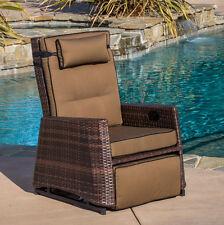 Outdoor Rocker Recliner Weather Resistant Wicker Rocking Chair Patio Porch Deck