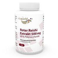 Vita World Premium Roter Reishi Extrakt 500mg 40% Polysaccharide 100 Kapseln