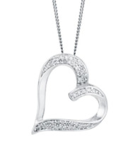 Pave 0.50 Cts Natural Diamonds Heart Pendant In Fine Hallmark 14Karat White Gold