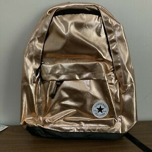 CONVERSE ALL STAR LARGE BACKPACK ROSE GOLD METALLIC METAL SHINY CHUCK TAYLOR NEW