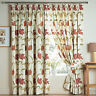 KINSALE TERRACOTTA FLORAL COTTON LINED TAPE TOP CURTAINS + FREE TIE BACKS CHEAP