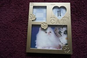 """""""I Love My Cat"""" picture frame Collage style 3 openings metal w/paws"""