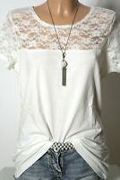 H&M T-Shirt Gr. L creme-weiß Baumwolle Damen T-Shirt mit Spitze am Ausschnitt