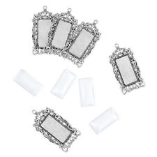 6sets DIY Alloy Pendant Settings with Glass Rectangle Cabochons Antique Silver