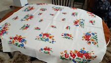 "VINTAGE LINEN/FLAX FLORAL TABLE CLOTH 52"" X 53 3/4"""
