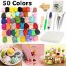 50 Colors Soft Wool Felt + Felting Needle Tool Set Mat Starter DIY Kit Craft