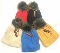 Boys Girls Knitted Warm Winter Hat Beanie Fleece Lined Cap Kids Ski Pom Pom Hat