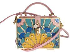 NUEVO DOLCE & Gabbana Bolso Caja SICILY Madera Rosa Cuero Cristal legno