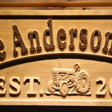 wpa0306 Name Personalized FARM with Tractor Home Wood Engraved Wooden Sign