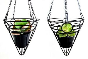 MID-20TH C VINT PAIR BLACK ENAMEL PAINTED WELDED STEEL HANGING 'CONE' PLANTERS