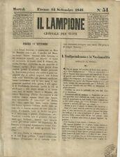 Il Lampione di Collodi Giornale Satirico Risorgimento N. 51 - 12 Settembre 1848