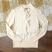 Classiques Entier Ruffle Front Sweater Size Medium M Cream 100% Merino Wool
