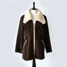True Vintage 70's Boho Fur Trim Faux Suede Leather Sheepskin Coat Medium UK 14