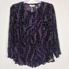 Yolanda Women's Long Sleeve See Through Button UP Purple/Black Shirt
