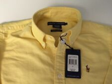 NWT POLO RALPH LAUREN LADIES LS BUTTON DOWN SHIRT YELLOW PONY SLIM 4 $85.00