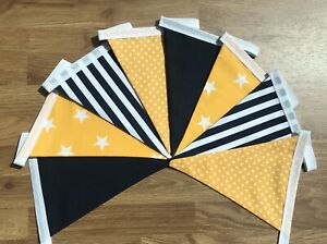 Navy blue & yellow striped star spot fabric double sided bunting. Nursery/ gift