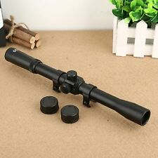 Hunting 4 x 20 Optics Laser Sight Scope Telescopic 11mm Rail Mount for Rifle Gun