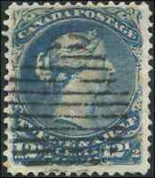 Canada #28 used F-VF 1868 Queen Victoria 12 1/2c blue Large Queen CV$110.00