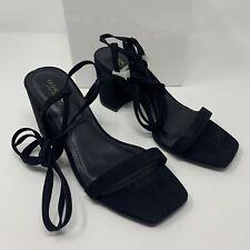 "Fashion Nova Women's Shoe Size 7 Black ""Squared In"" Heeled Sandals"