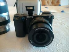 Sony Alpha A6000 24.3MP Digital Camera - Black with 16-50mm a 18-200mm Zoom