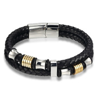 Men's Multilayer Braided Leather Stainless Steel Magnetic Bracelet Bangle Cuff