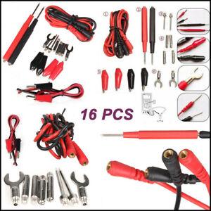 16Pcs/Set Digital Multimeter Probe Test Lead Kit Cable Alligator Clip Needle Tip