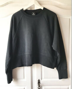 Nike Pullover Sweatshirt Hoodie Schwarz Laufshirt Retro Oversize Crop Weiß Gym M