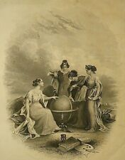 Antique 1862 Colton Atlas Steel Engraving ~ Globe - Telescope - Chartigraphy