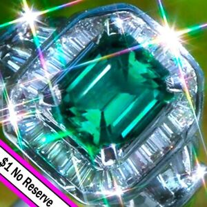 Emerald Ring PLATINUM 5.19ct VS Diamond Emerald Ring Vintage ESTATE Cocktail NR↩