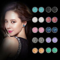 Wholesale 6 Pairs Stainless Steel Shiny Austrian Crystal Round Stud Earrings Set