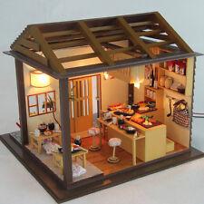 Wooden Miniatures Dolls house DIY Kits w/Light -Japanese Sushi Shop & Furniture