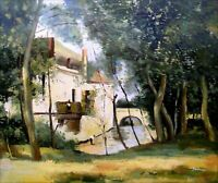 Oil Painting Camille Corot Mill of Saint-Nicolas-les-Arraz Repro 20x24in