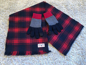 Boys Abercrombie Scarf And Gloves Set - Navy/Red/Grey - Size S/M Approx 6-8 Yrs
