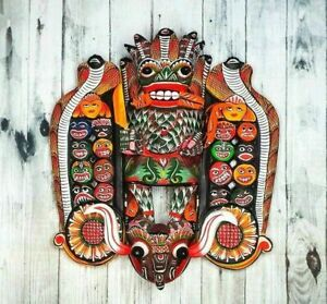 "Elegant Wooden Handmade Wall Decor Traditional Mask 12"" 18 Figures in Side Burns"