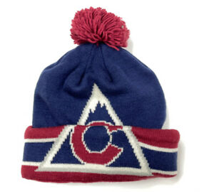 CCM Colorado Avalanche Team Classics Winter Knit Hat Embroidered Puff Ball