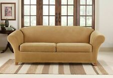 Sure Fit Stretch Pique Loveseat waffle weave Slipcover 3 Piece antique gold