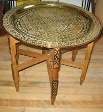 Moroccan brass tray table-Moroccan end table-Moroccan brass tray-Moroccan table