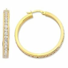 Cubic Zirconia Hoop Unbranded Yellow Gold Filled Fashion Earrings