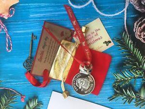 Polar Express Style Believe Jingle Bell Santa Magic Key, Santa Wishing Coin XMas