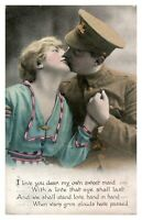 Antique postcard valentine card military Soldier & sweetheart I Love You