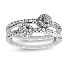 Sterling Silver Double Band Flower Design Ring with AAA quality CZ, Size 7