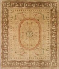 Vegetable Dye 10x12 Oushak Aubusson Oriental Hand-Knotted Golden Brown Large Rug