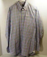 Men Peter Millar Size L Blue Check Button Down Shirt Long Sleeve Cotton