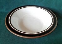 HORNSEA CONTRAST DESSERT BOWL EARTHENWARE RIMMED FRUIT DISH BROWN BLACK & WHITE