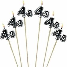New 40th Happy Birthday Party Decoration Cake Candles Stick 6 Pieces Anniversary
