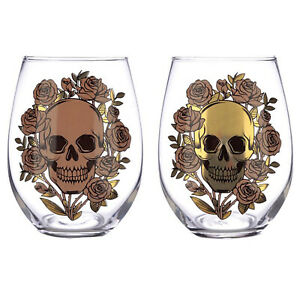 Set of 2 500ml Skulls & Roses Glasses Wine Gin Cocktail Drinking Cups Gift Boxed