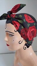 ROCKABILLY RED ROSES HEADBAND HEAD SCARF 1940s 1950s PIN UP LAND GIRL WWII