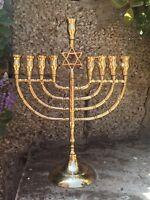 Hanukkah Menorah Jewish Judaica Israel Vintage Brass Chanukah Candle Holder