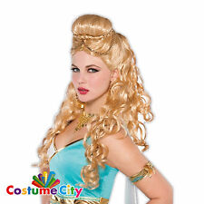 Womens Ladies Greek Goddess Roman Spartan Wig Fancy Dress Costume Accessory