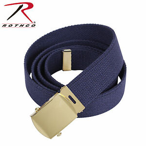 NAVY BELT WITH CHOICE OF BUCKLES 100% Cotton Military Web Belts Rothco 4177